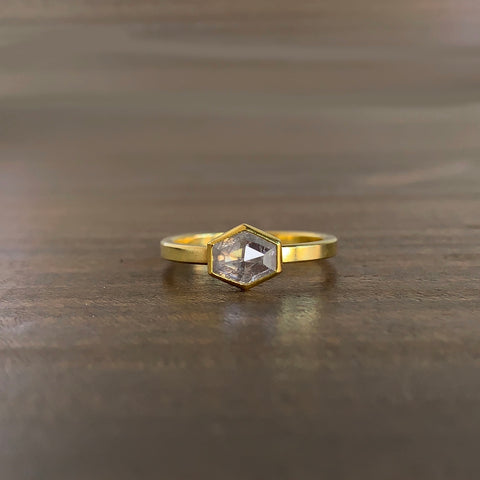 Sam Woehrmann Icy Diamond Long Hexagon Ring