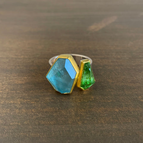 Sam Woehrmann Aquamarine & Tourmaline Geometric Ring