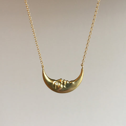 Anthony Lent Crescent Moonface Necklace with Diamond Eyes