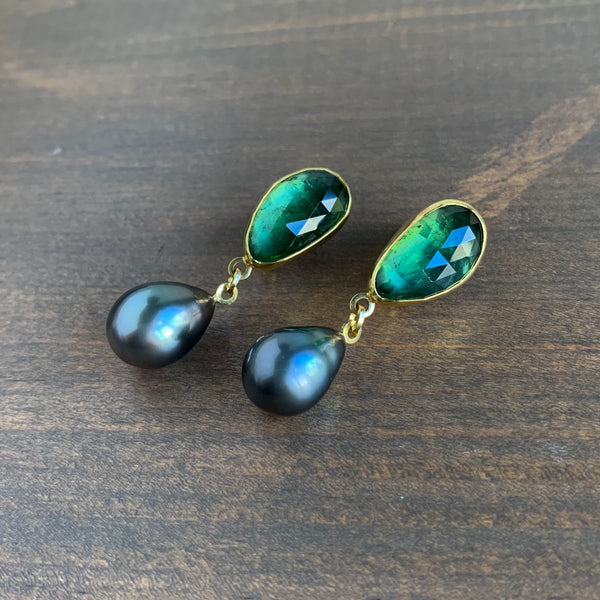 Sam Woehrmann Tourmaline & Black Pearl Earrings
