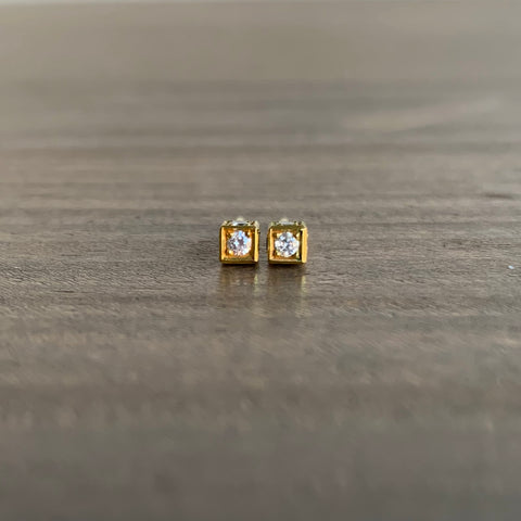 Sam Woehrmann Diamond Cube Stud Earrings