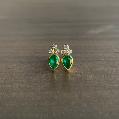 Sam Woehrmann Emerald & Diamond Stud Earrings