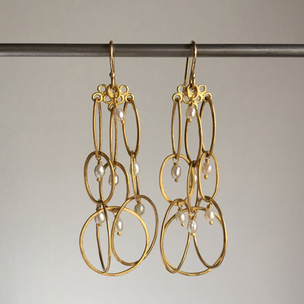 Rosanne Pugliese Long Layered Gold Earrings with Mini Pearls