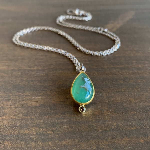 Sam Woehrmann Aquaprase & Brown Diamond Drop Pendant