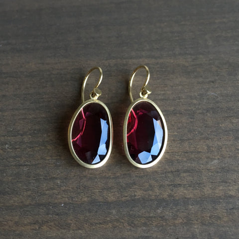 Lola Brooks Rhodolite Garnet Slice Drop Earrings