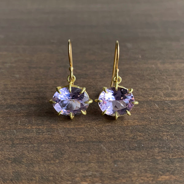 Rosanne Pugliese Small Oval Faceted Lavender Amethyst Earrings
