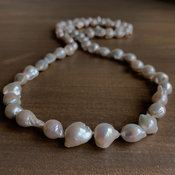 Mimi Favre White Baroque Freshwater Pearl Bamboo Toggle Necklace