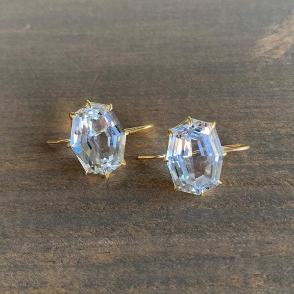 Rosanne Pugliese White Topaz Octagon Drop Earrings