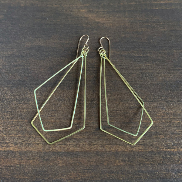 Rosanne Pugliese Long Gold Geometric Origami Earrings