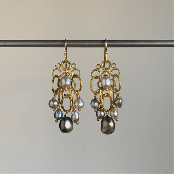 Rosanne Pugliese Gold Cluster Earrings with Keshi Pearls