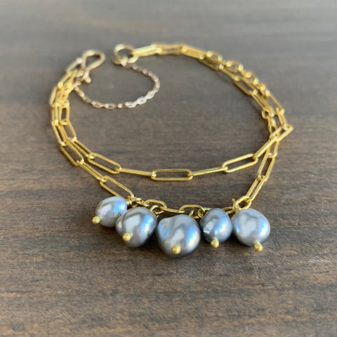 Rosanne Pugliese Handmade 22k Gold Link Double Bracelet with Keshi Pearls