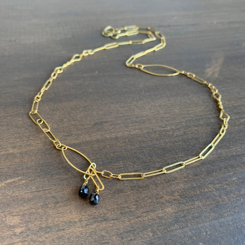 Rosanne Pugliese Handmade 22k Gold Oval Link Chain with Black Diamonds