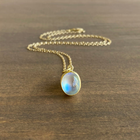 Monica Marcella Petite Oval Moonstone Necklace