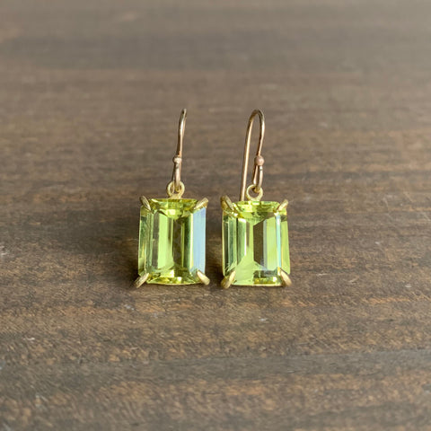 Rosanne Pugliese Small Emerald Cut Lemon Citrine Earrings