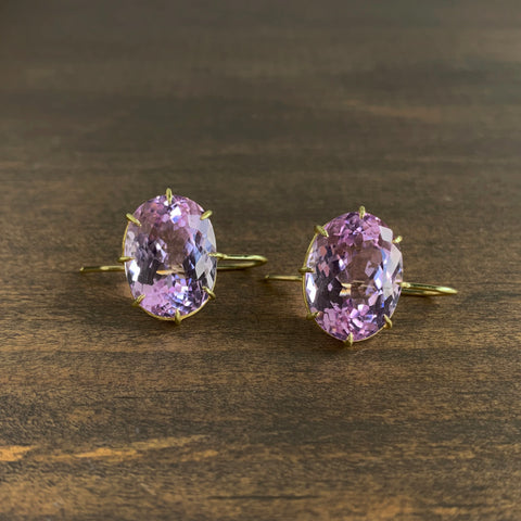 Rosanne Pugliese Faceted Kunzite Oval Drop Earrings