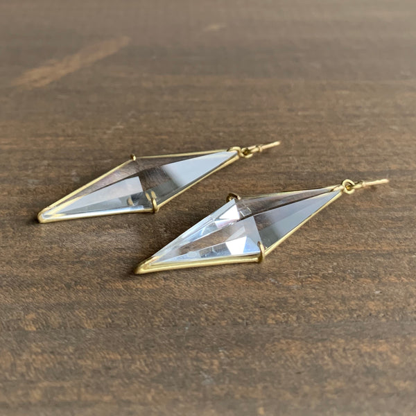 Rosanne Pugliese Rock Crystal Kite Drop Earrings