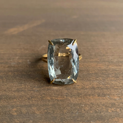 Rosanne Pugliese Prong Set Moss Aquamarine Ring