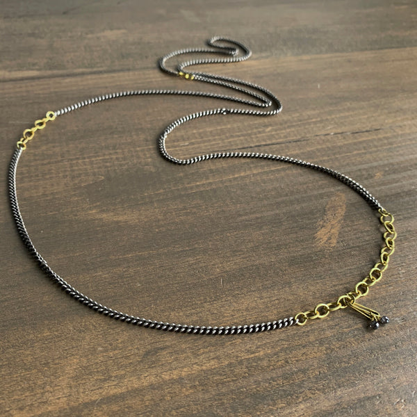 Rosanne Pugliese Oxidized Silver Chain with 22k Oval Links & Black Diamonds