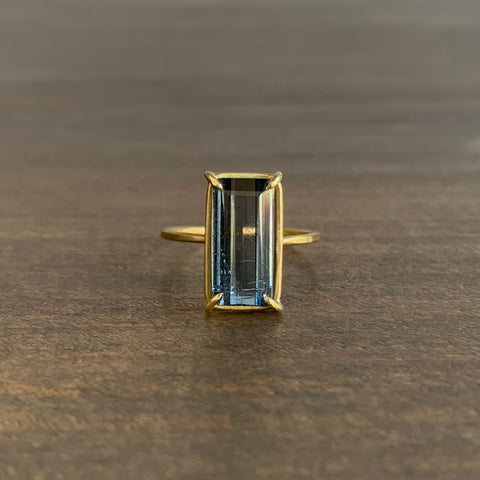 Rosanne Pugliese Blue-Green Tourmaline Baguette Ring