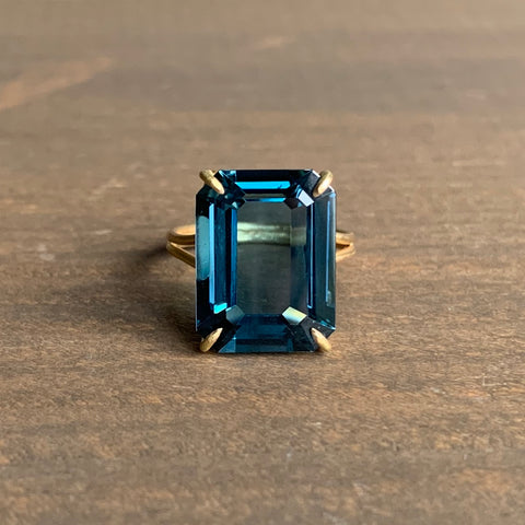 Rosanne Pugliese Prong Set Emerald Cut London Blue Topaz Ring