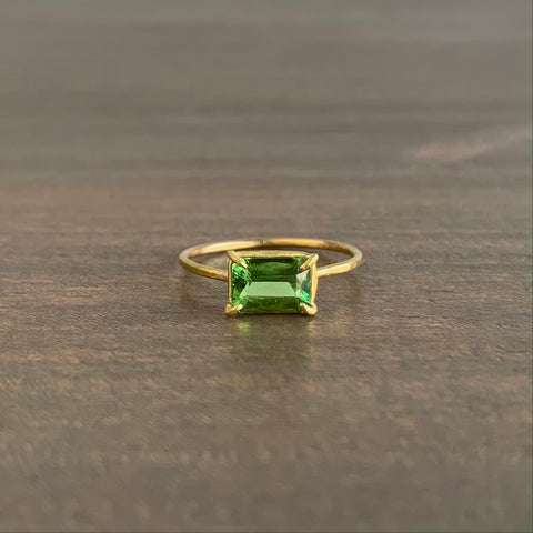 Rosanne Pugliese Lime Green Tourmaline Baguette Mini Gem Ring