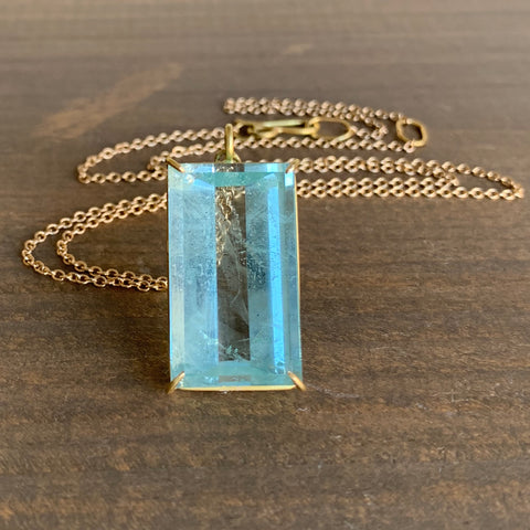 Rosanne Pugliese Prism Cut Aquamarine Rectangle Pendant
