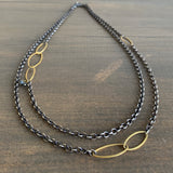 Rosanne Pugliese Oxidized Silver Chain with Gold Leaves and Black Diamonds