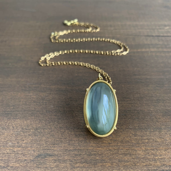 Rosanne Pugliese Cage Set Sage Green Moonstone Oval Pendant