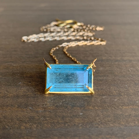 Rosanne Pugliese Aquamarine Bar Necklace
