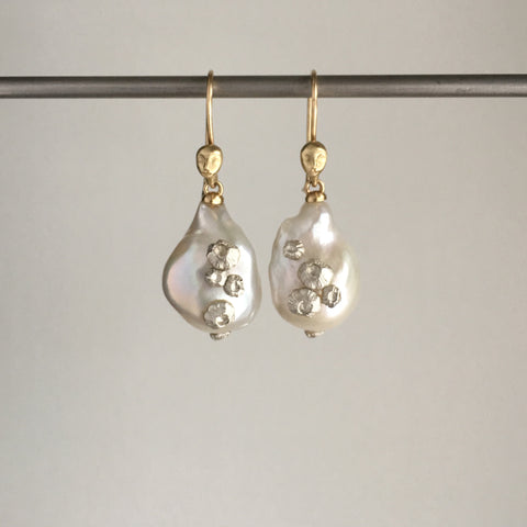 Hannah Blount Large Pearl Figurehead Cameo Earrings with Silver Barnacles