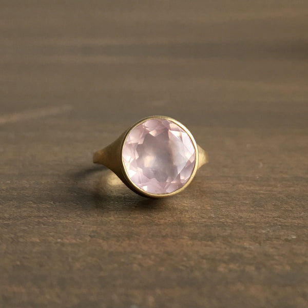 Monika Krol Round Rose Quartz Ring