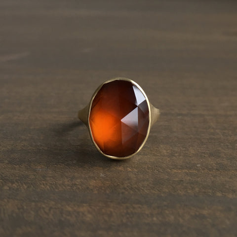 Monika Krol Faceted Hessonite Garnet Ring