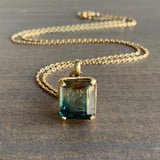 "Mimi Favre Emerald Cut ""Sunset"" Watermelon Tourmaline Pendant"