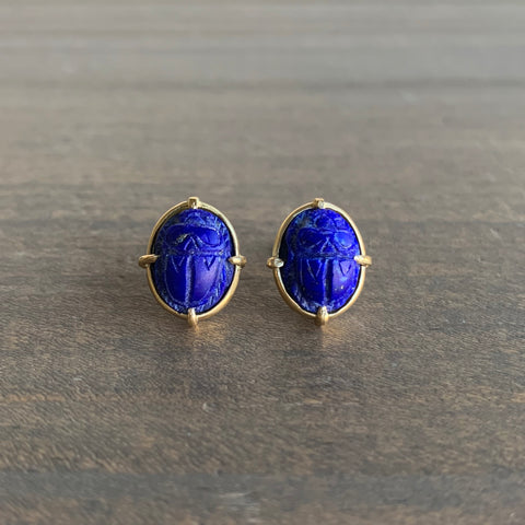 Mimi Favre Lapis Scarab Stud Earrings