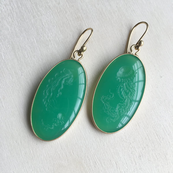 Monika Krol Chrysoprase Jellyfish Earrings