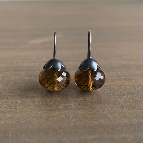 Mimi Favre Smoky Quartz Morning Glory Pod Earrings