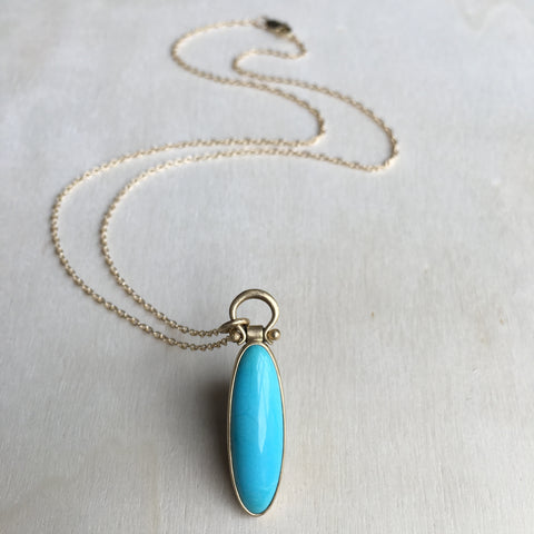 Monika Krol Elongated Oval Turquoise Pendant