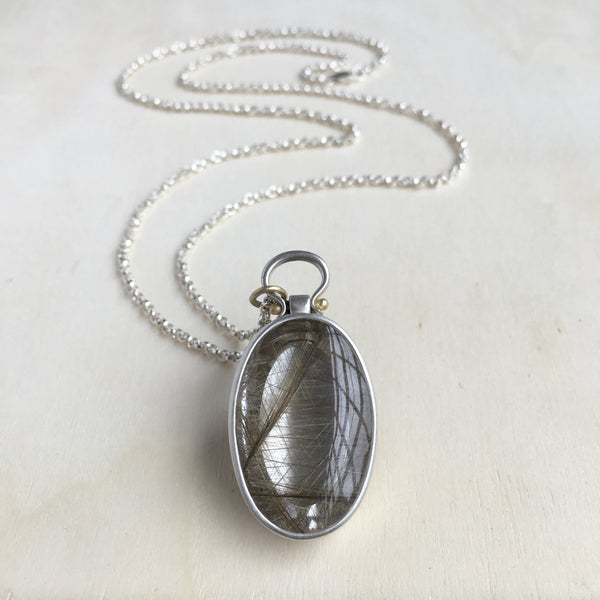 Monika Krol Oval Rutilated Quartz Pendant