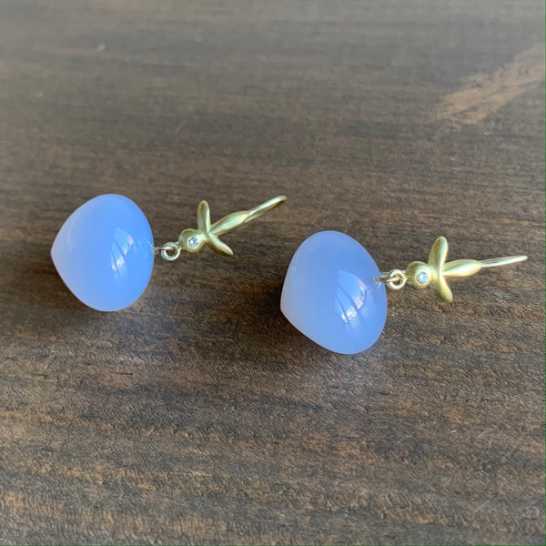 Judi Powers Petite Fleur Earrings with Blue Chalcedony Bulbs and Diamonds