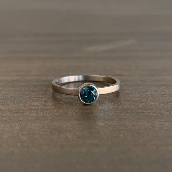 Monika Krol Round Blue/Green Natural Sapphire Stacking Ring