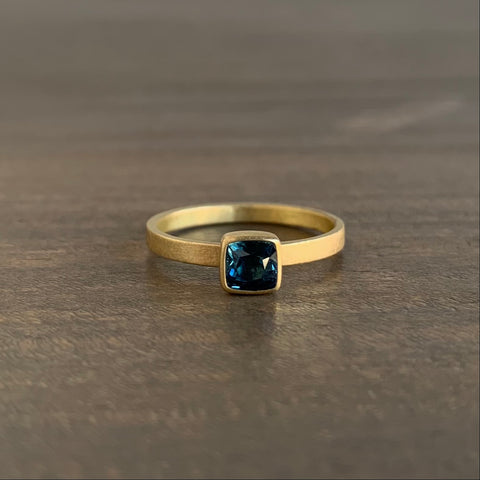 Monika Krol Square Cushion Blue/Green Natural Sapphire Stacking Ring