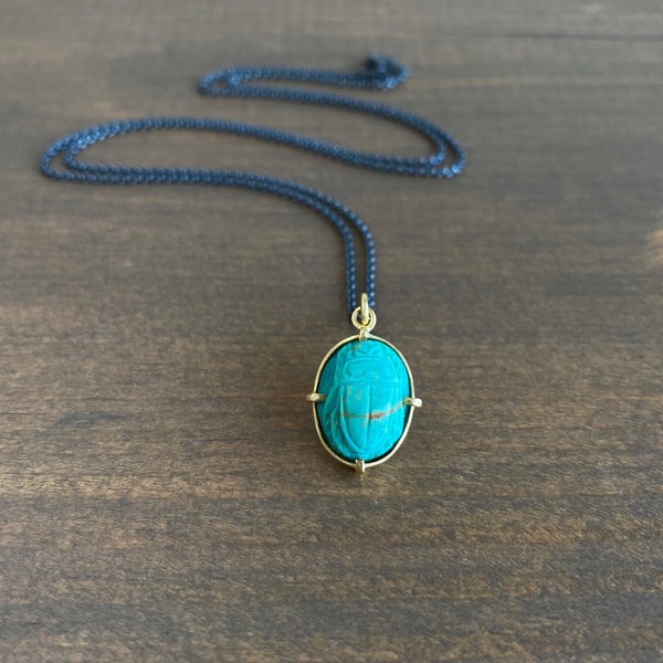 Mimi Favre Turquoise Scarab Necklace