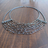 Joanna Nealey Graduated Powerline Necklace in Oxidized Silver
