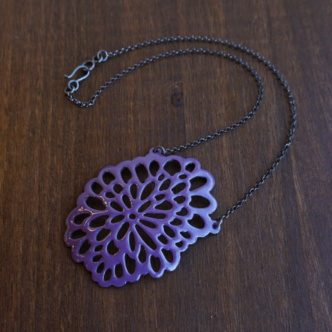 Joanna Nealey Oval Flower Pendant in Iris Purple