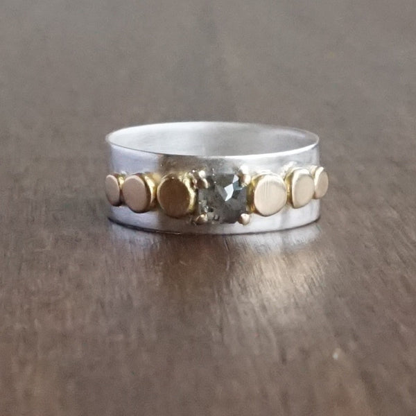 Katie Carder Stepping Stone Band with Grey Square Diamond
