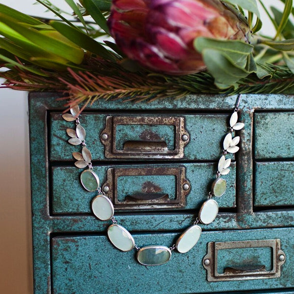 Katie Carder Aquamarine and Sapphire Fern Necklace