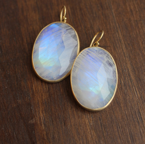 Lola Brooks 18k Gold and Oval Moonstone Earrings