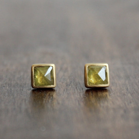 Lola Brooks 18k Gold and Natural Yellow Diamond Studs