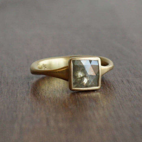 Lola Brooks Green Square Diamond Ring