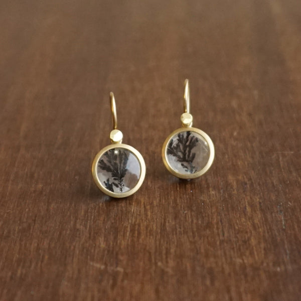 Lola Brooks Teeny Dendritic Quartz Circle Earrings